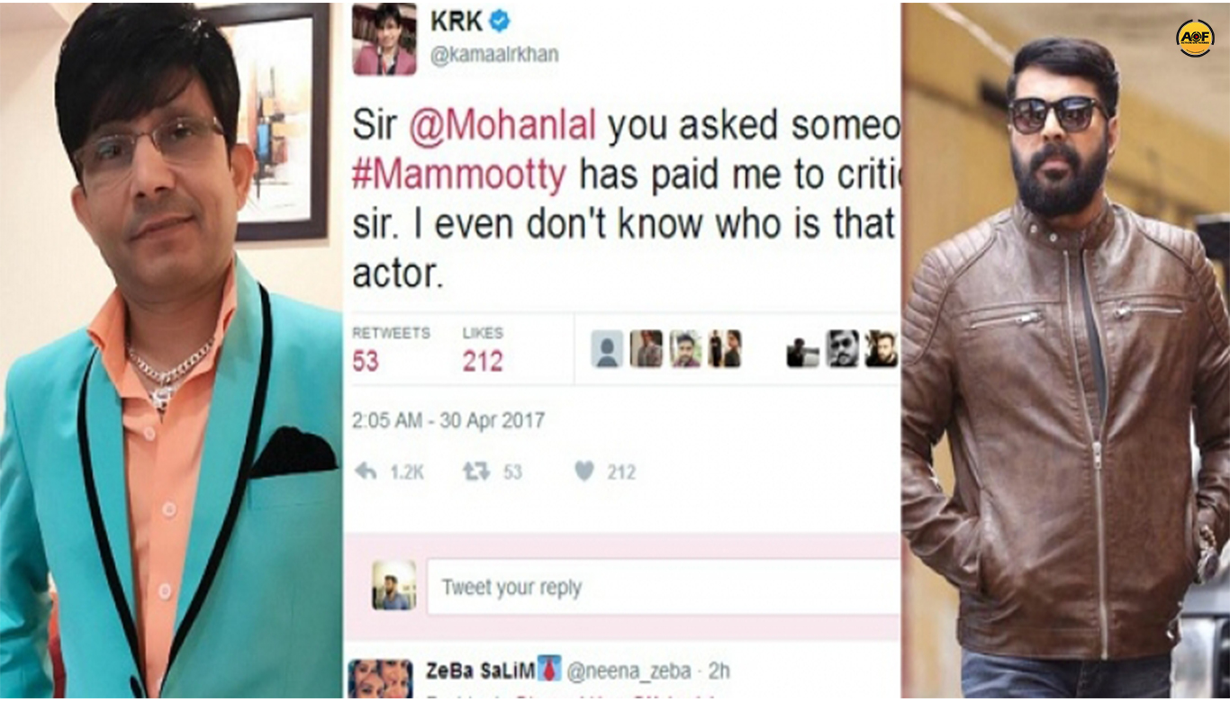 After Mohanlal, Krk Tweets against Mammootty