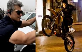 Thala Ajith wheeling a sports bike!